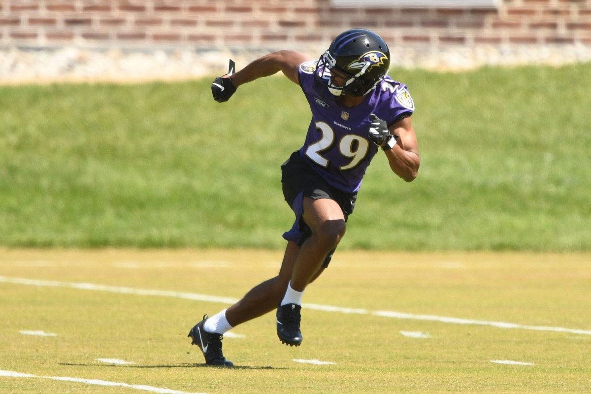 May 15, 2021; Baltimore, Maryland, USA; Shaun Wade #29 of the Baltimore Ravens runs drills during rookie Camp. Mandatory Credit: Mitchell Layton-USA TODAY Sports
