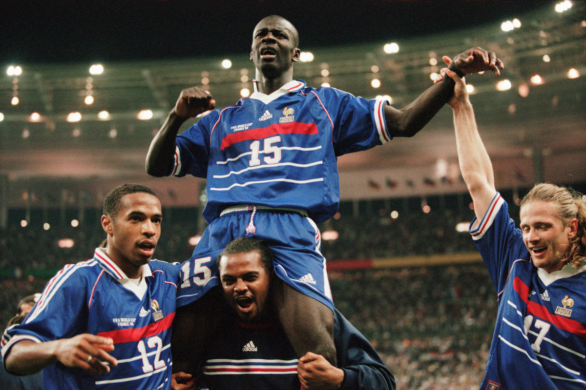 Lilian Thuram (15) helped France win the 1998 World Cup