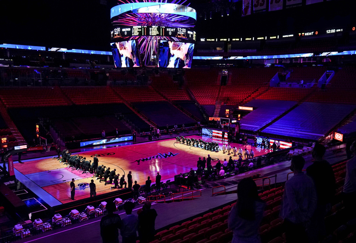 Before their Jan. 6 game in Miami, the Heat and Celtics took a knee after putting out a statement addressing both the decision not to file charges in the police shooting of Jacob Blake and the Capitol riot.