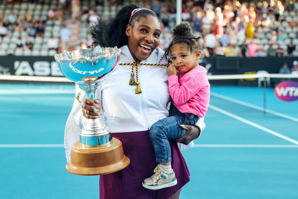 Serena Williams with daughter Olympia.
