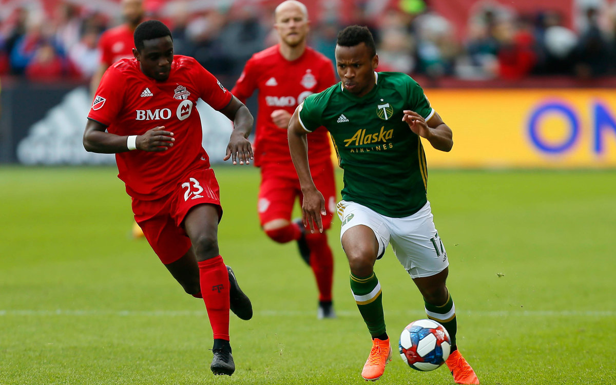 Toronto FC's Chris Mavinga and Portland Timbers' Jeremy Ebobisse