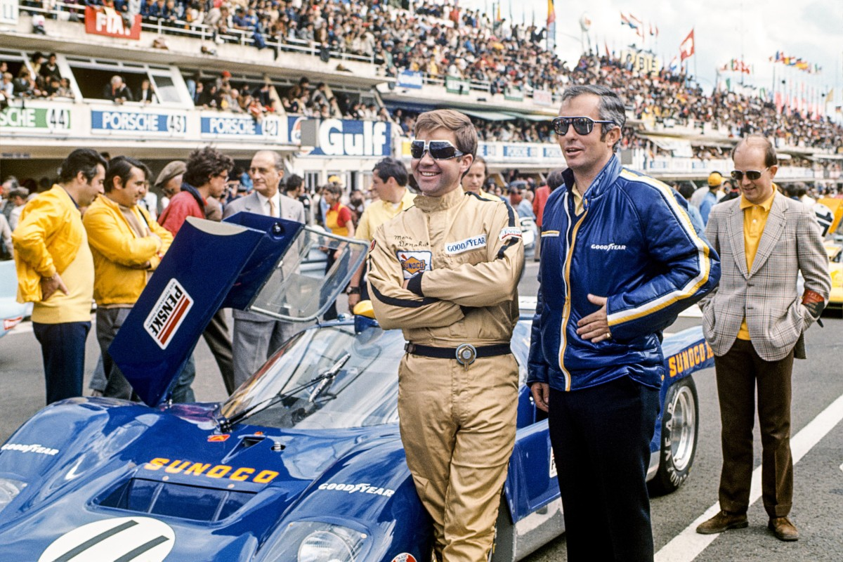 Penske entered Donohue (left) in the 24 Hours of Le Mans in 1971—but it was more like six hours, after engine troubled shortened the slide rule boys' day.