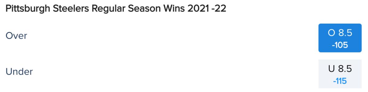 Pittsburgh Steelers Win Total Odds via FanDuel Sportsbook