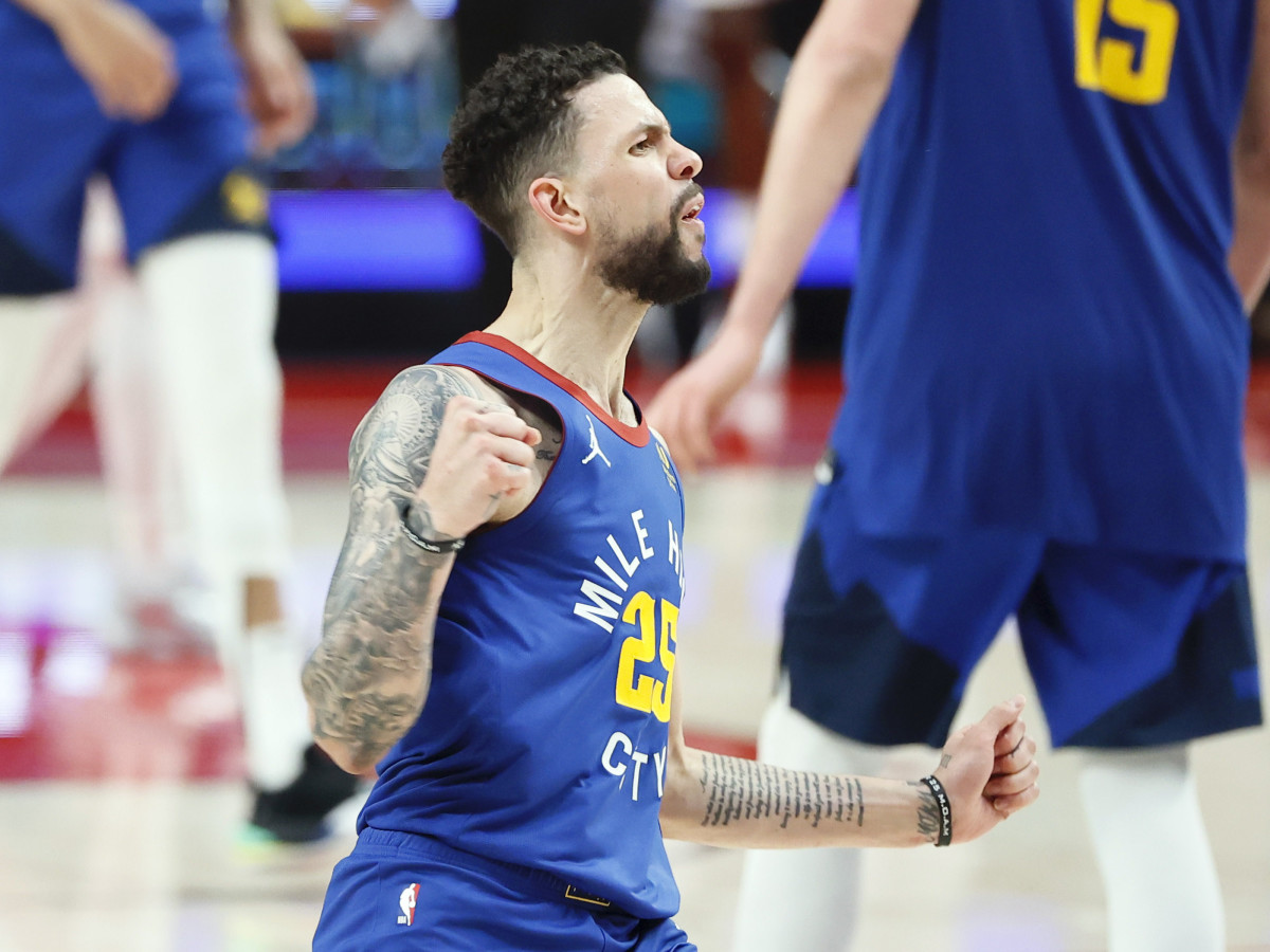 Denver Nuggets guard Austin Rivers (25) reacts after a three-point basket during the second half of game three in the first round of the 2021 NBA Playoffs against the Portland Trail Blazers