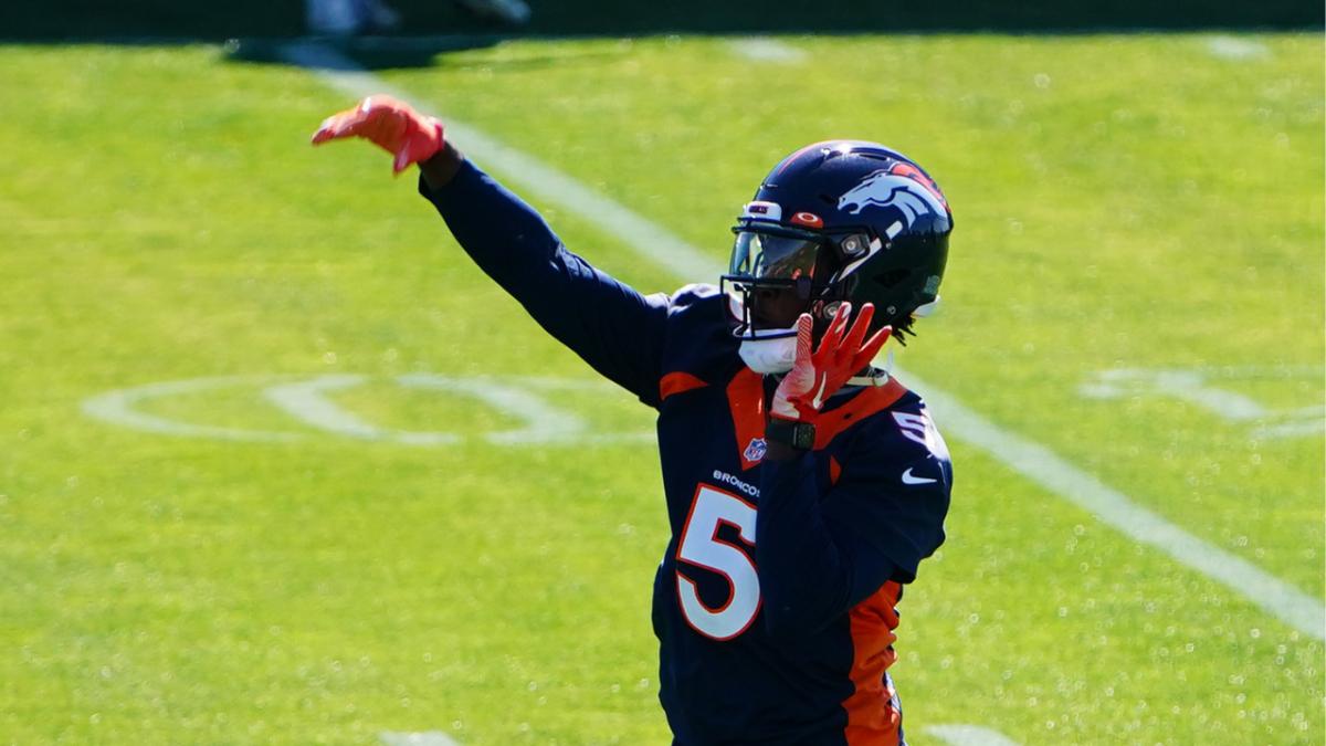 Denver Broncos quarterback Teddy Bridgewater (5) during organized team activities at the UCHealth Training Center.