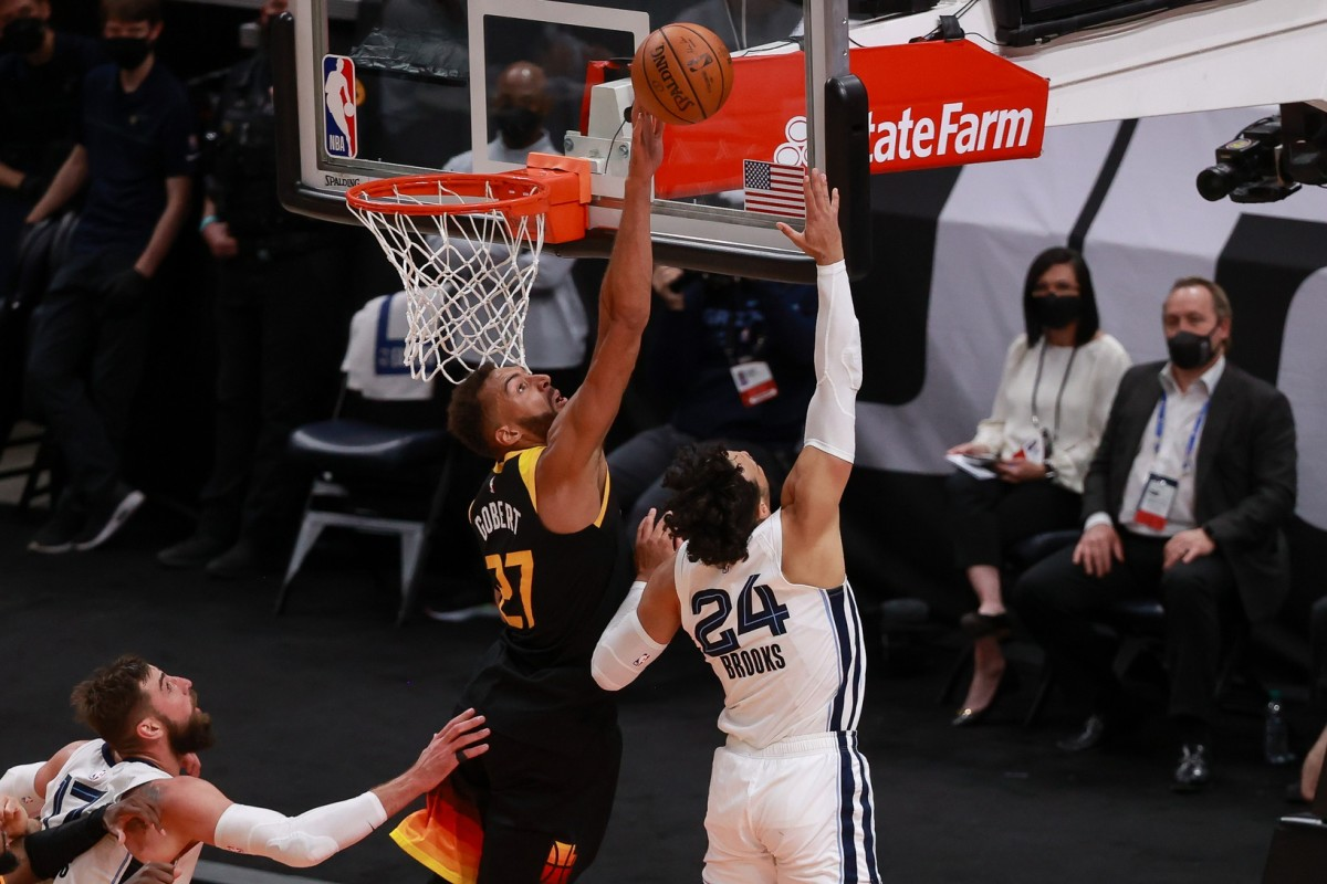 Rudy Gobert (27) blocks Dillon Brooks (24) in the opening round of the Western Conference Playoffs