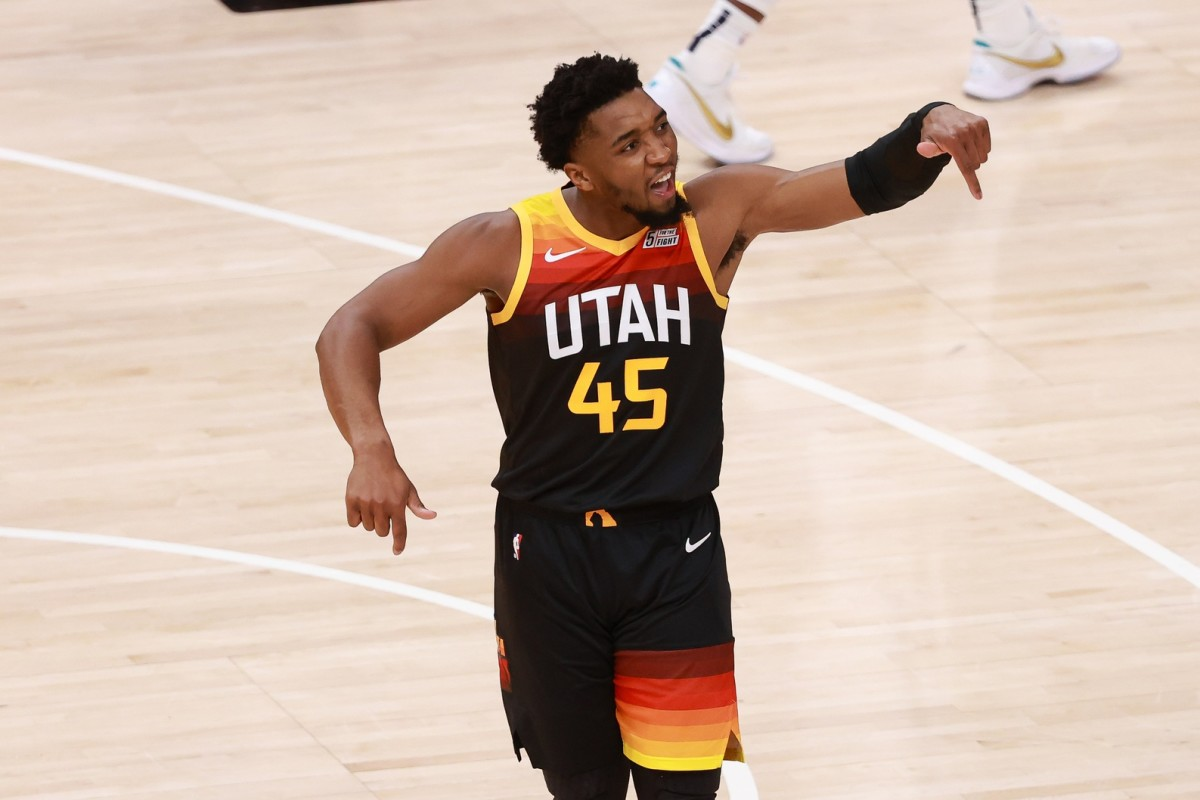 Donovan Mitchell (45) is amped up after hitting a contested three pointer against the Memphis Grizzlies