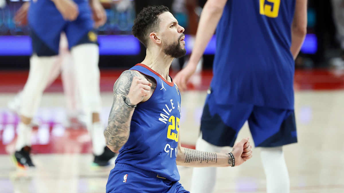 Denver Nuggets guard Austin Rivers (25) reacts after a three-point basket during the second half of game three in the first round of the 2021 NBA Playoffs