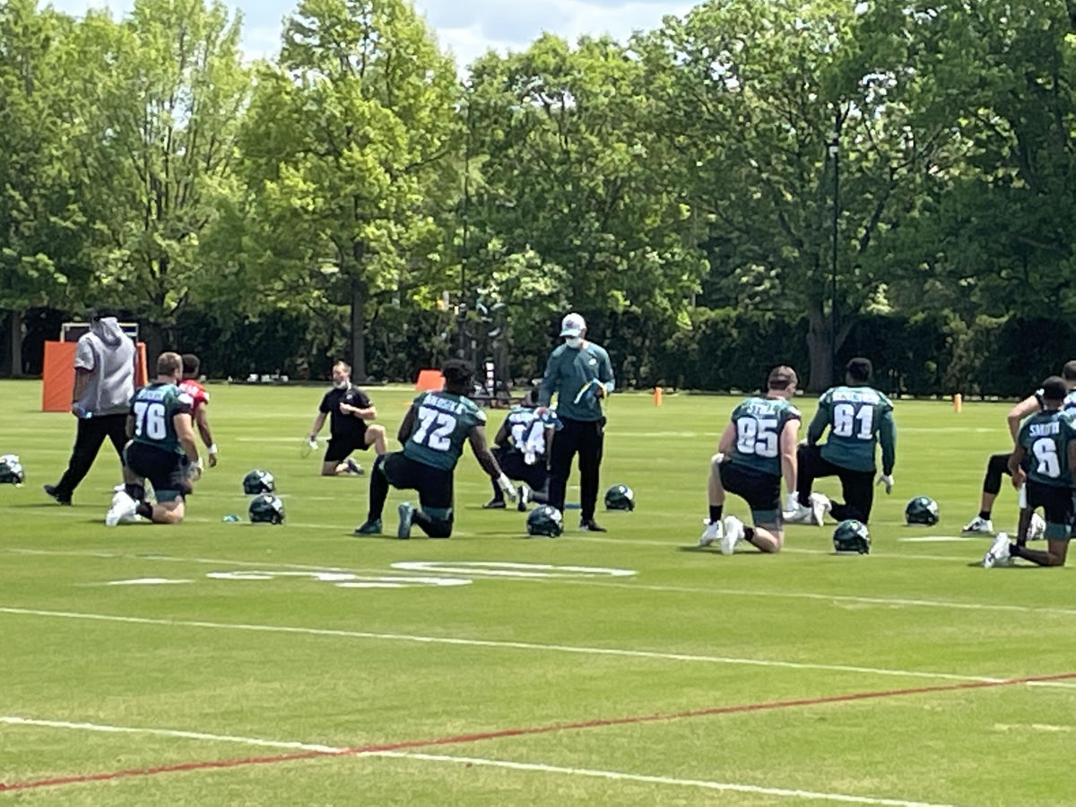 Jack Stoll (No. 85) stretches at the Eagles' recent Rookie Camp