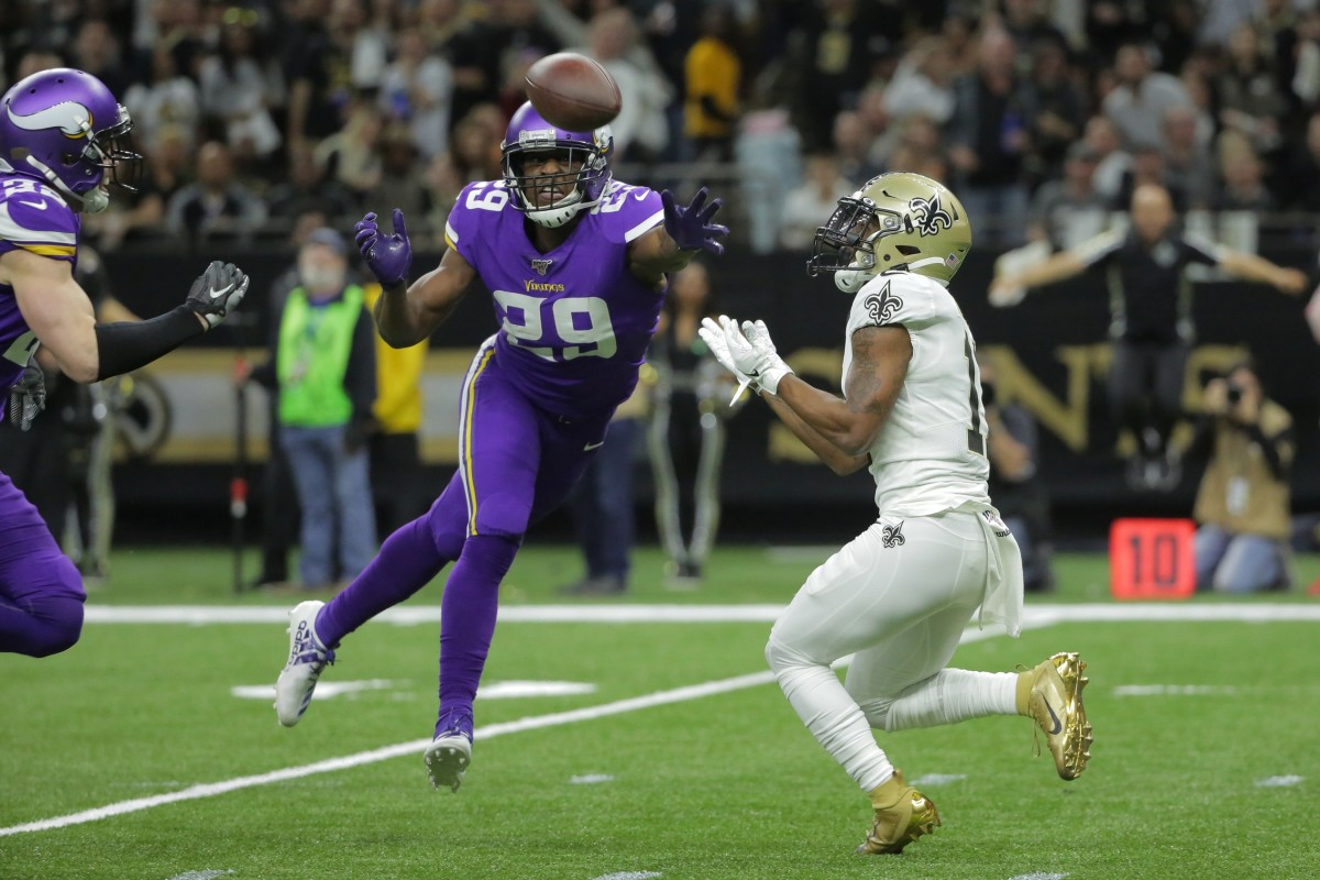 Saints wide receiver Deonte Harris (11) catches a pass against Vikings cornerback Xavier Rhodes (29) during the NFC Wild Card playoff game. Mandatory Credit: Derick Hingle-USA TODAY Sports