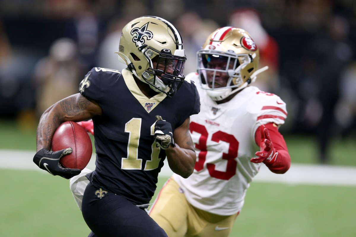 New Orleans Saints receiver Deonte Harris (11) returns a kickoff in the first quarter as San Francisco safety Tarvarius Moore (33). Mandatory Credit: Chuck Cook-USA TODAY Sports