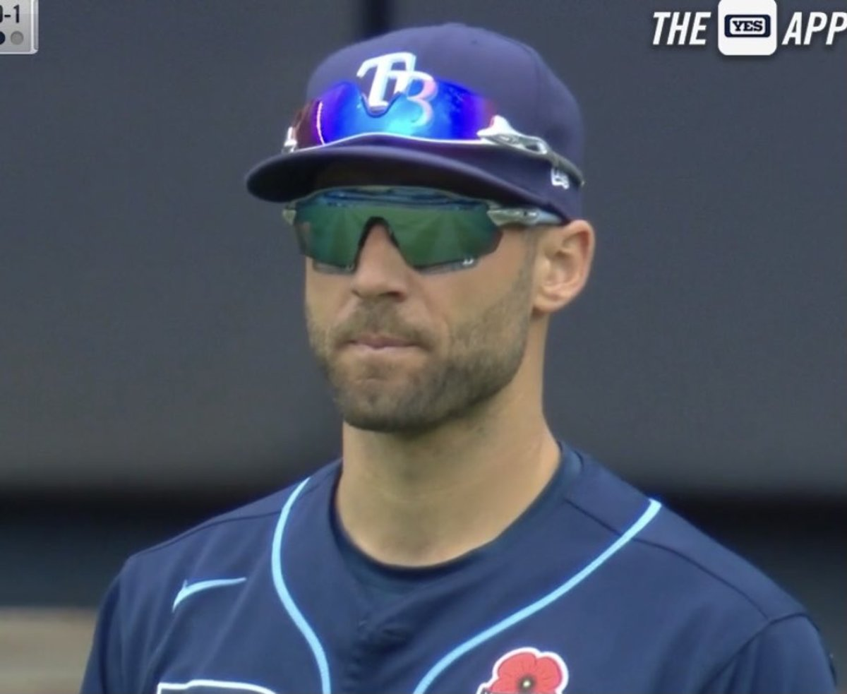 Kevin Kiermaier wearing sunglasses, with another pair on top of his hat