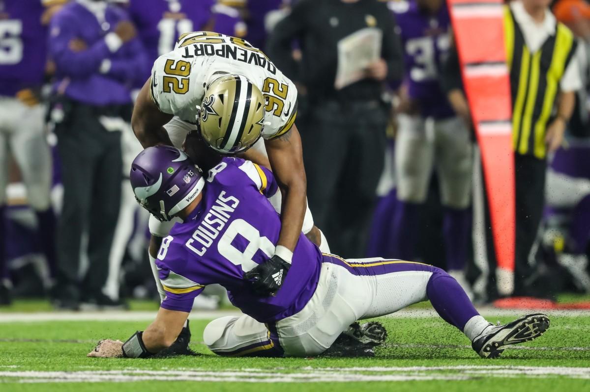 New Orleans Saints defensive end Marcus Davenport (92) sacks Vikings quarterback Kirk Cousins (8). Mandatory Credit: Brace Hemmelgarn-USA TODAY