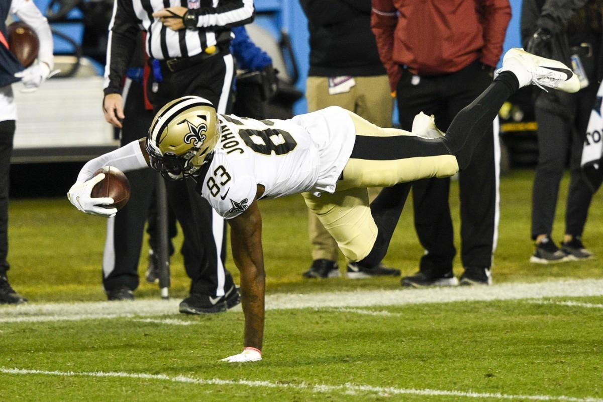 New Orleans Saints wide receiver Juwan Johnson (83) makes a catch. Mandatory Credit: Bob Donnan-USA TODAY Sports