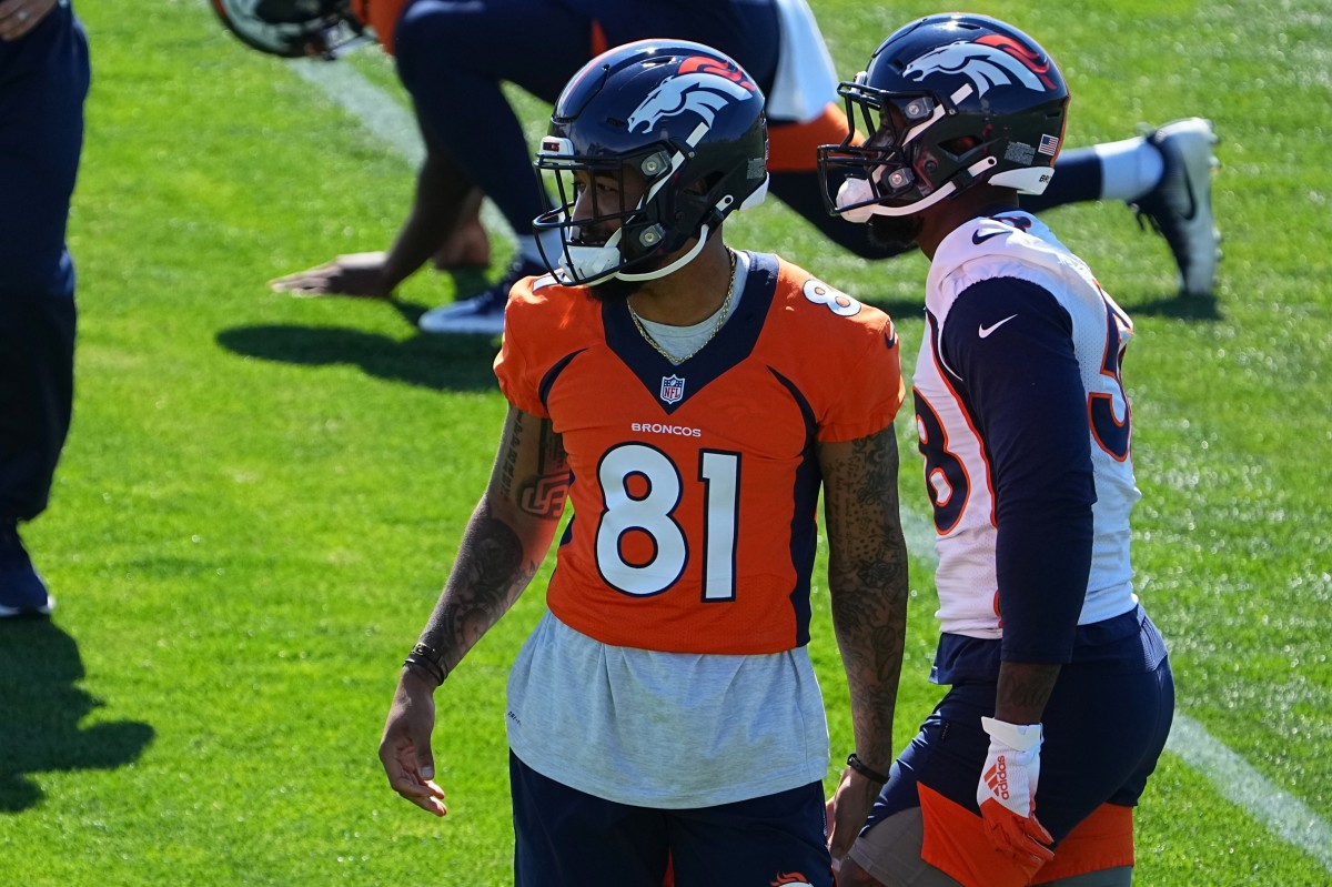 Denver Broncos wide receiver Tim Patrick (81) during organized team activities at the UCHealth Training Center.