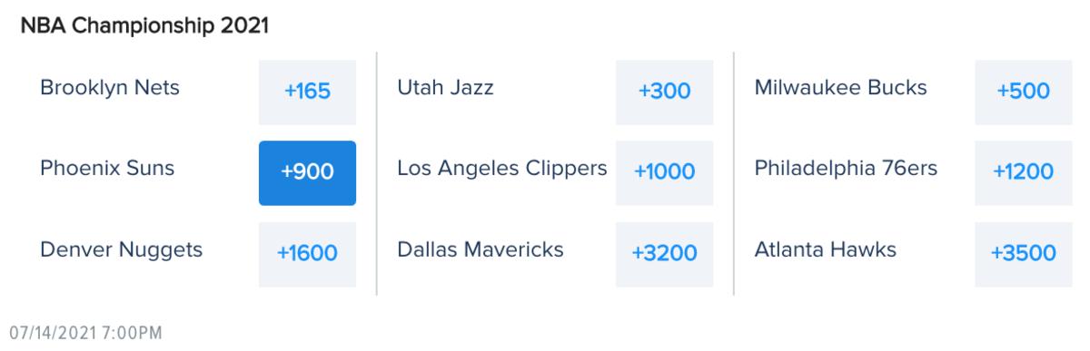 2020–21 NBA Finals Championship Odds via FanDuel Sportsbook