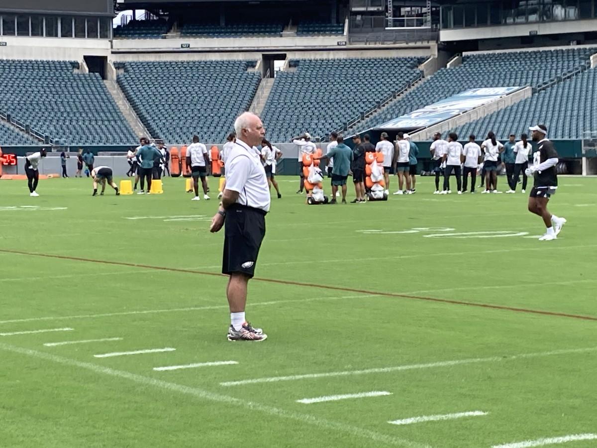 Eagles owner Jeffrey Lurie takes in practice on June 4, 2021