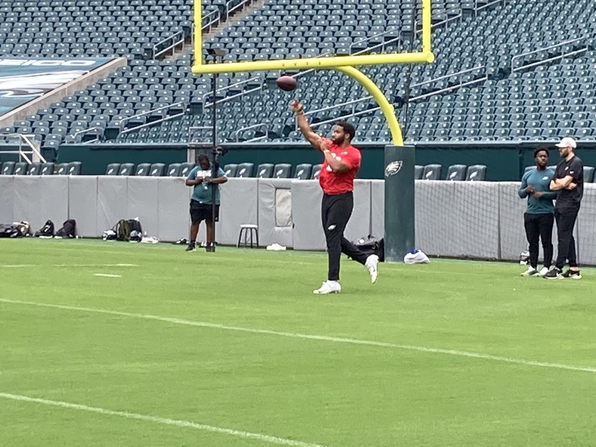 Eagles QB Jamie Newman gets loose prior to practice on June 4, 2021