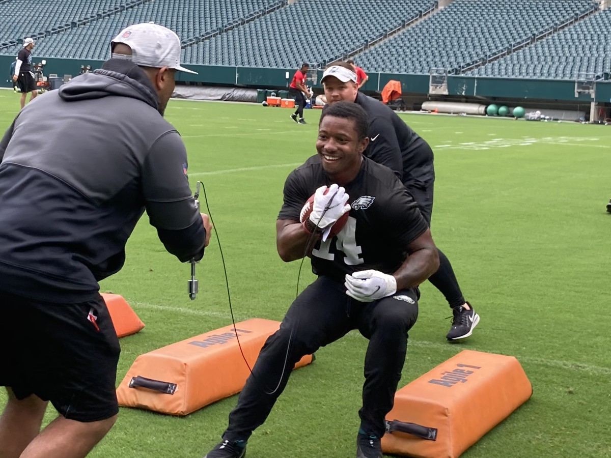 Eagles rookie RB Kenny Gainwell at practice on June, 2021