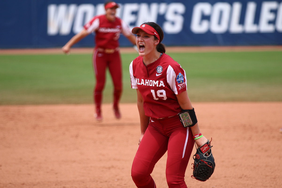 Nicole May celebrates the final out