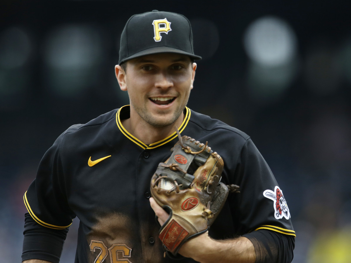 Pittsburgh Pirates second baseman Adam Frazier (26) reacts after securing the final out against the Colorado Rockies during the seventh inning at PNC Park.