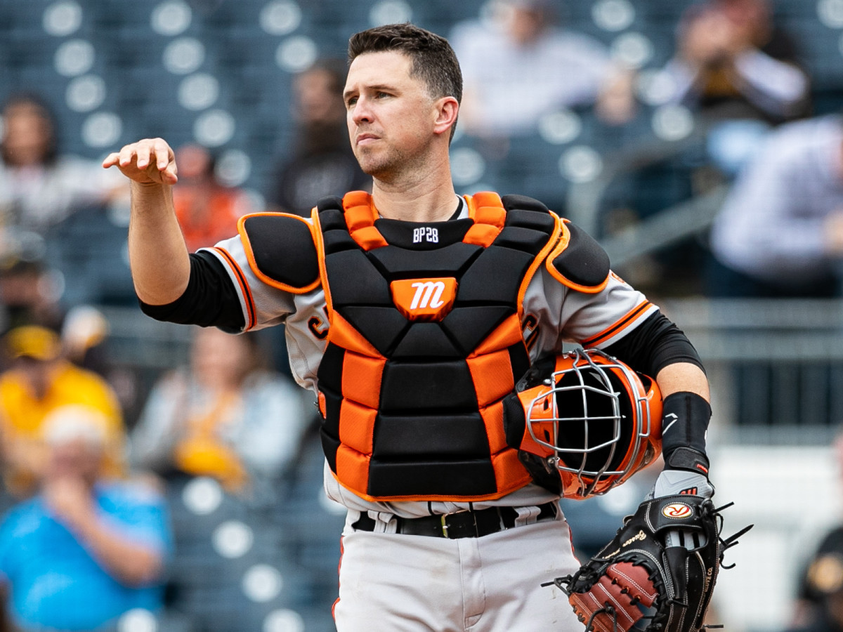 San Francisco Giants catcher Buster Posey (28) looks on during the game against the Pittsburgh Pirates at PNC Park.