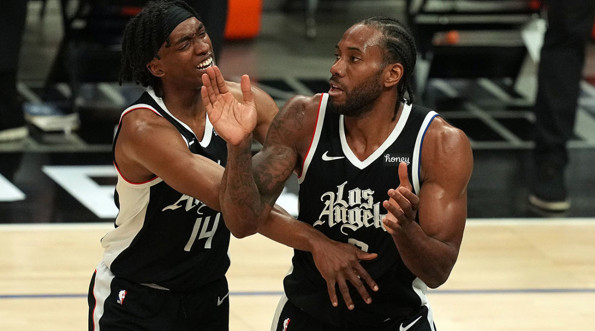 Terance Mann and Kawhi Leonard of the Los Angeles Clippers