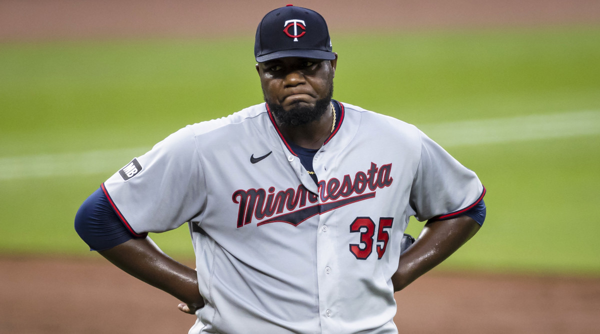 Jun 1, 2021; Baltimore, Maryland, USA; Minnesota Twins starting pitcher Michael Pineda (35) reacts after giving up a run against the Baltimore Orioles during the third inning at Oriole Park at Camden Yards.