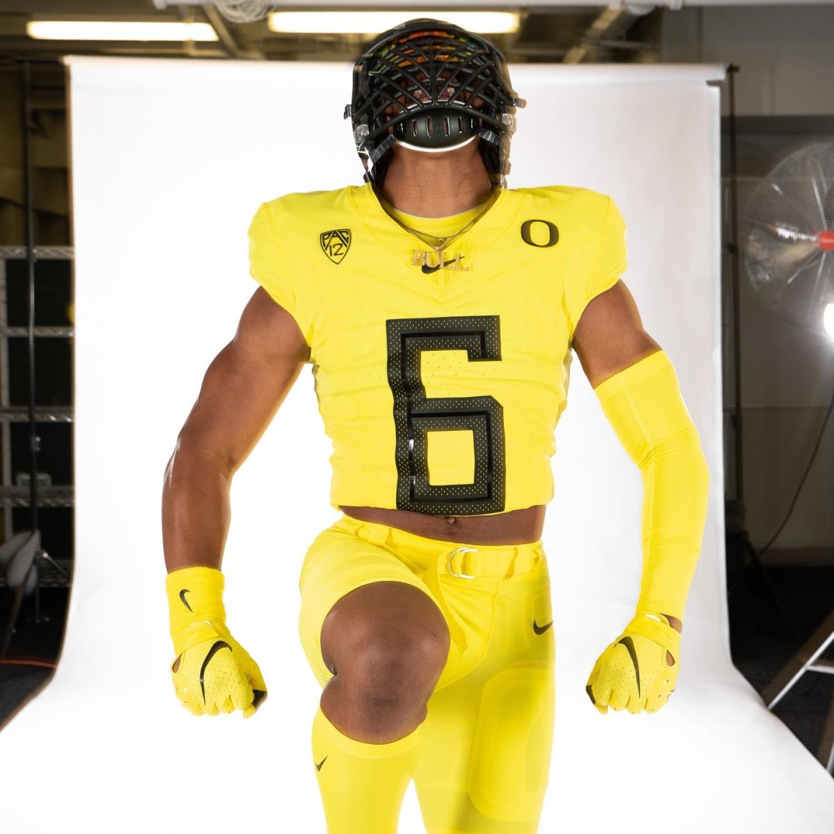 TJ Dudley yells during a photoshoot on his Oregon official visit.