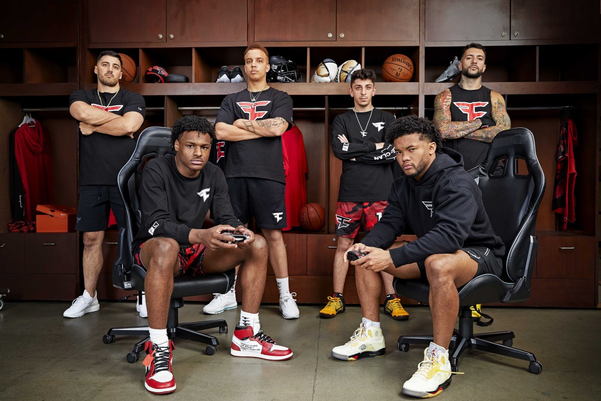 Life is great these days for the crew, including (from left) Nickmercs, Bronny James, Swagg, Rug, Kyler Murray and Temperrr.