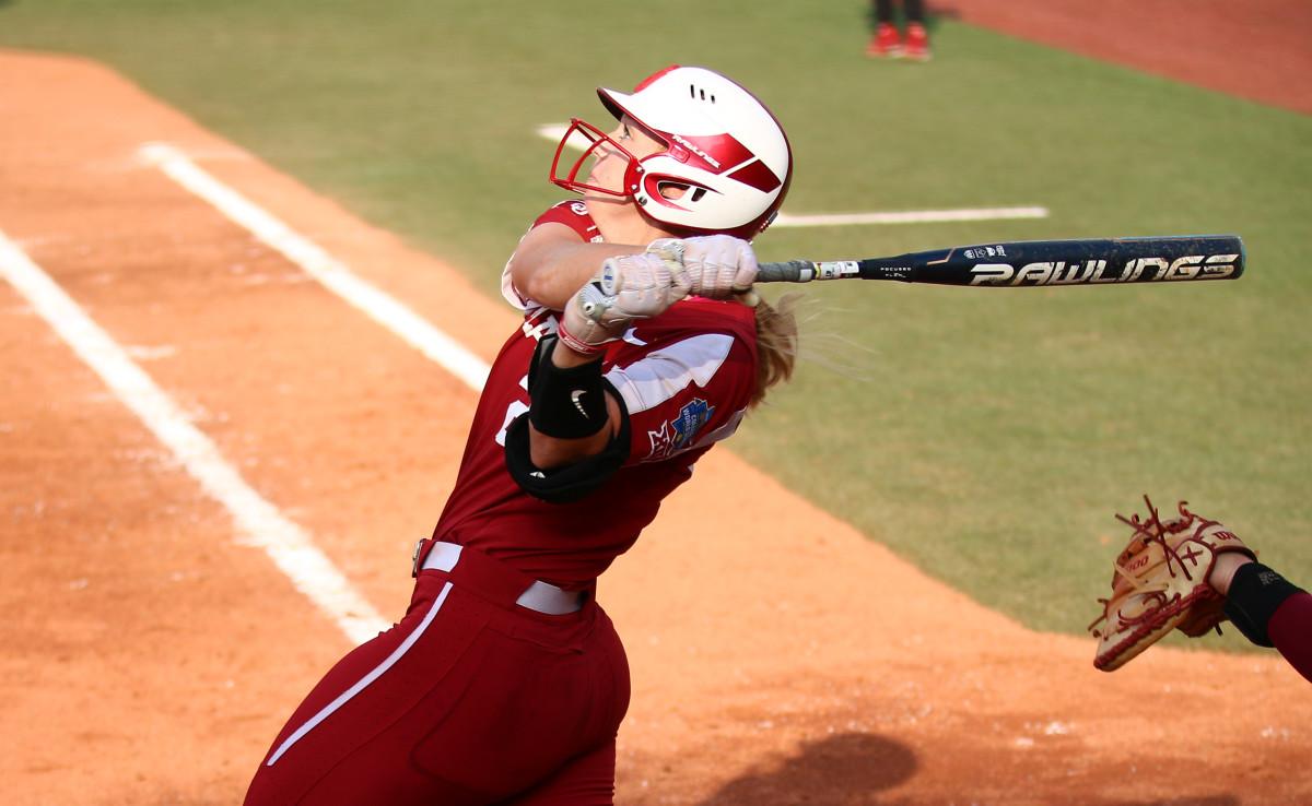 Jana Johns watches her home run