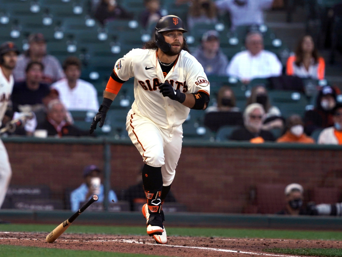 Jun 5, 2021; San Francisco, California, USA; San Francisco Giants shortstop Brandon Crawford (35) hits a double during the fifth inning against the Chicago Cubs at Oracle Park.