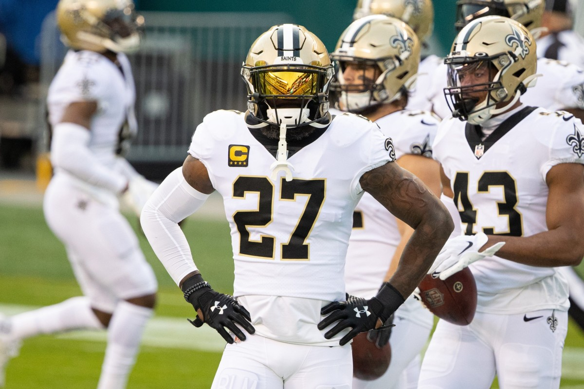 New Orleans Saints safety Malcolm Jenkins (27) before action against the Philadelphia Eagles. Mandatory Credit: Bill Streicher-USA TODAY Sports