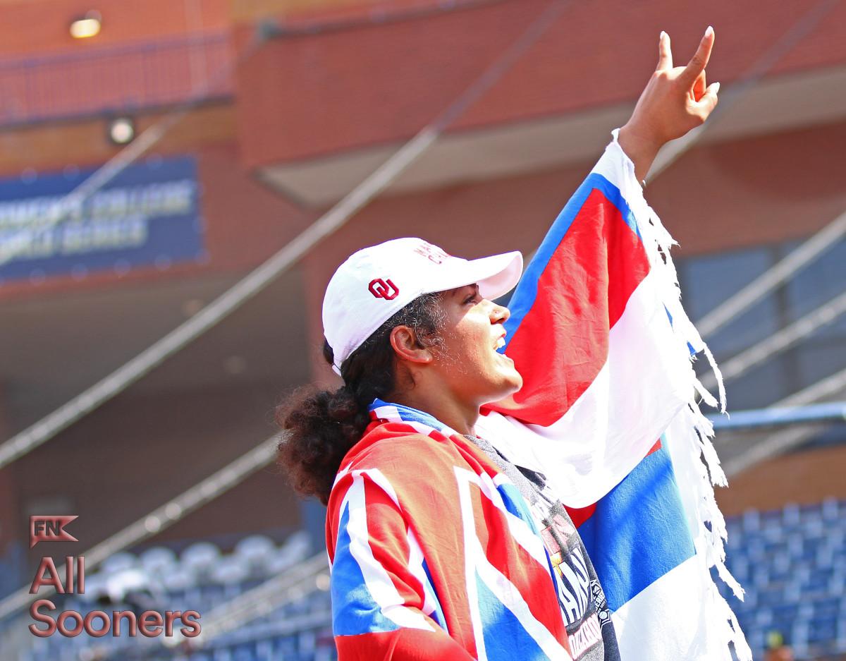 Jocelyn Alo celebrates Oklahoma's fifth softball National Championship last month