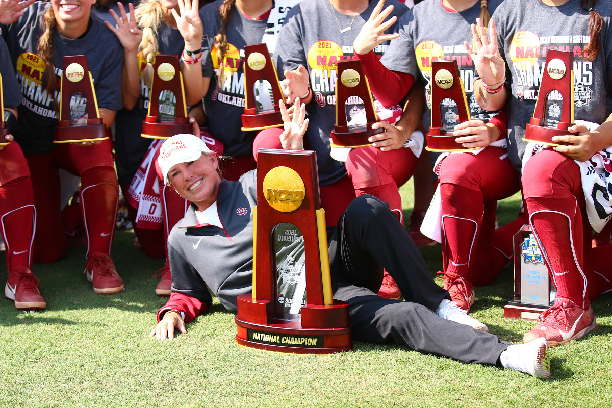 Patty Gasso relaxes with the hardware