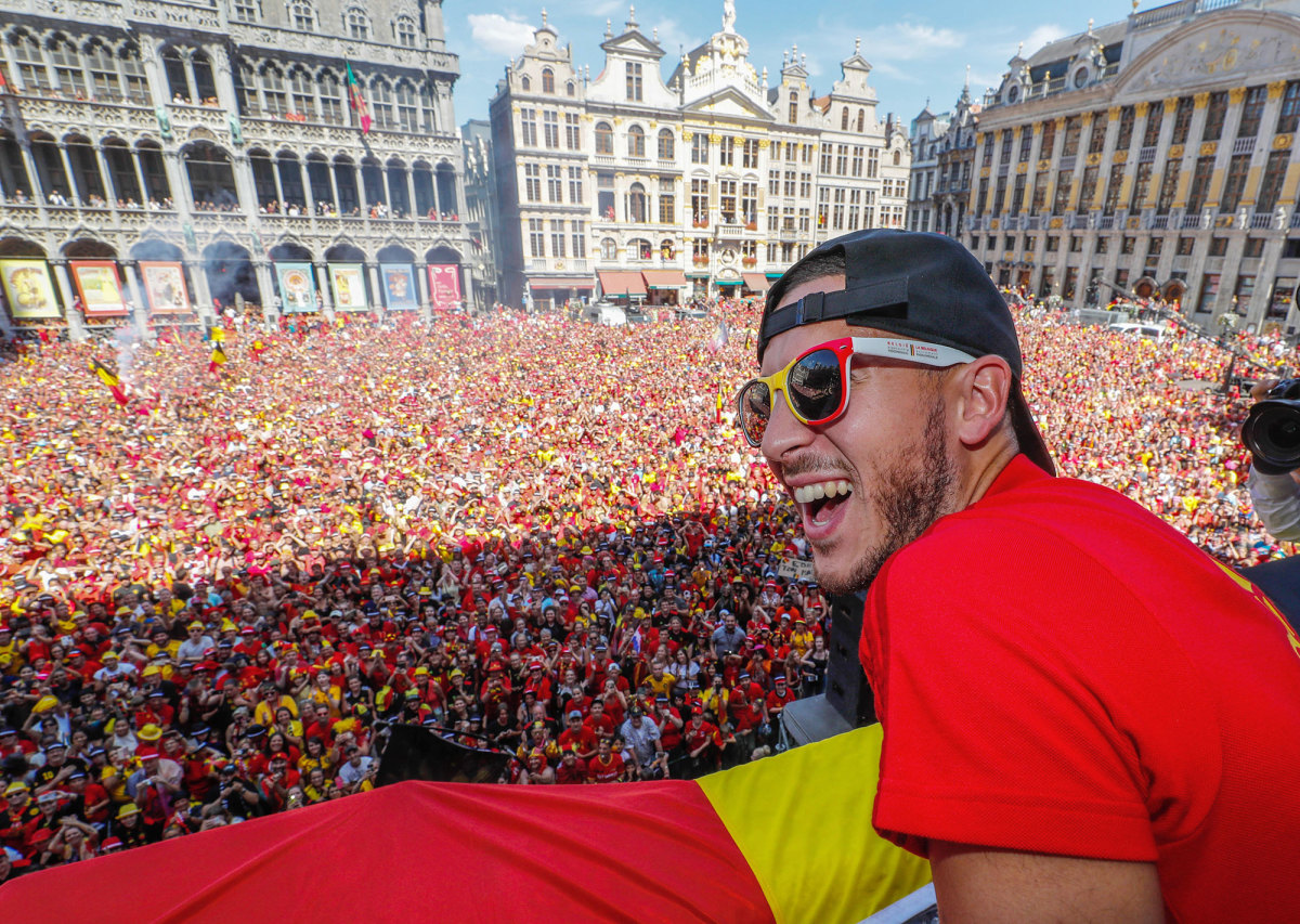 Eden Hazard and Belgium celebrate a third-place finish at the 2018 World Cup