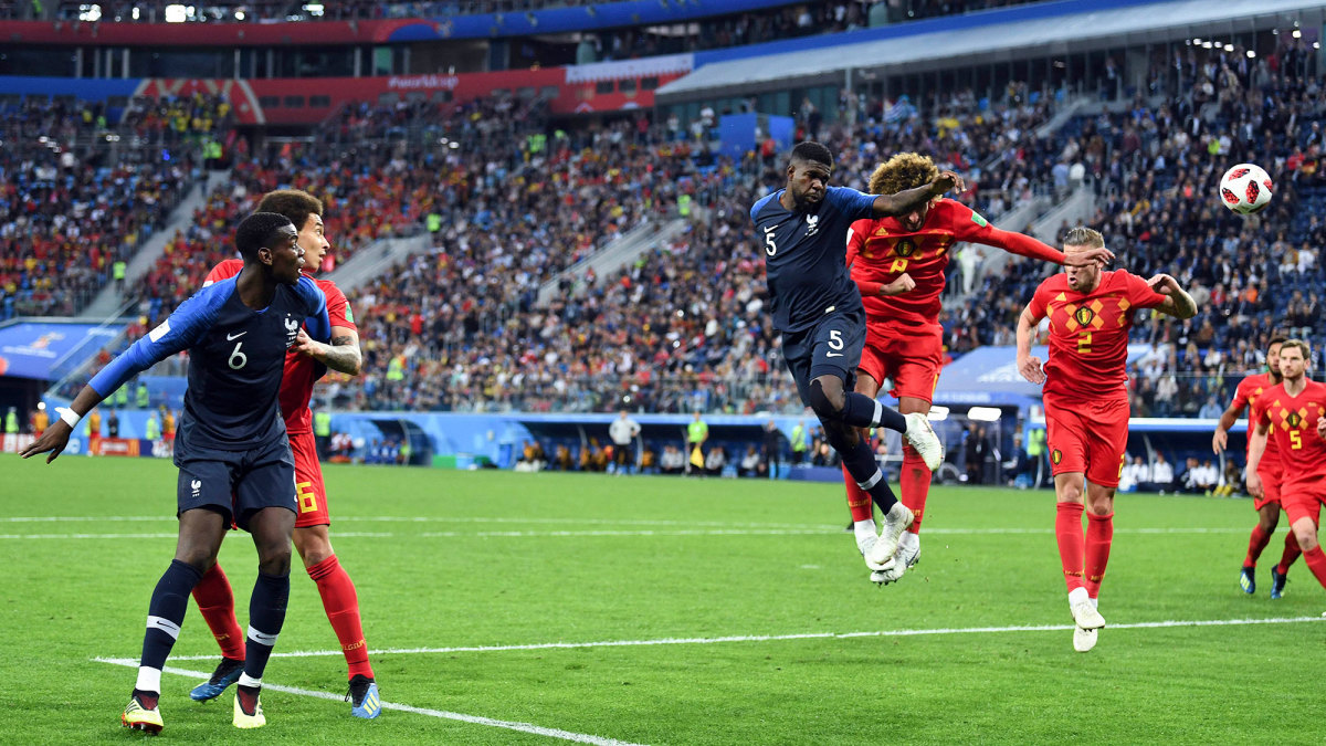 Samuel Umtiti scores for France vs. Belgium at the 2018 World Cup