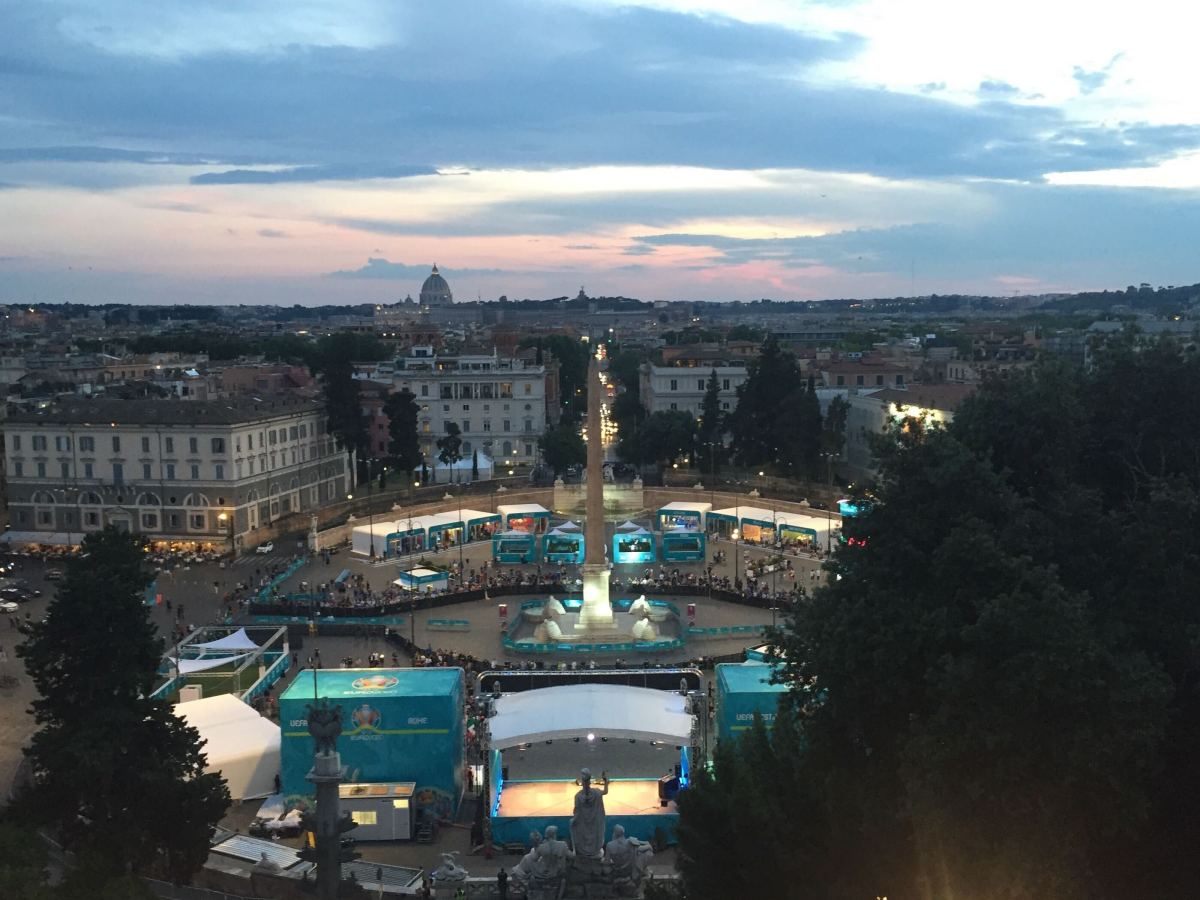 View of a fan zone for Euro 2020 in Rome, Italy.