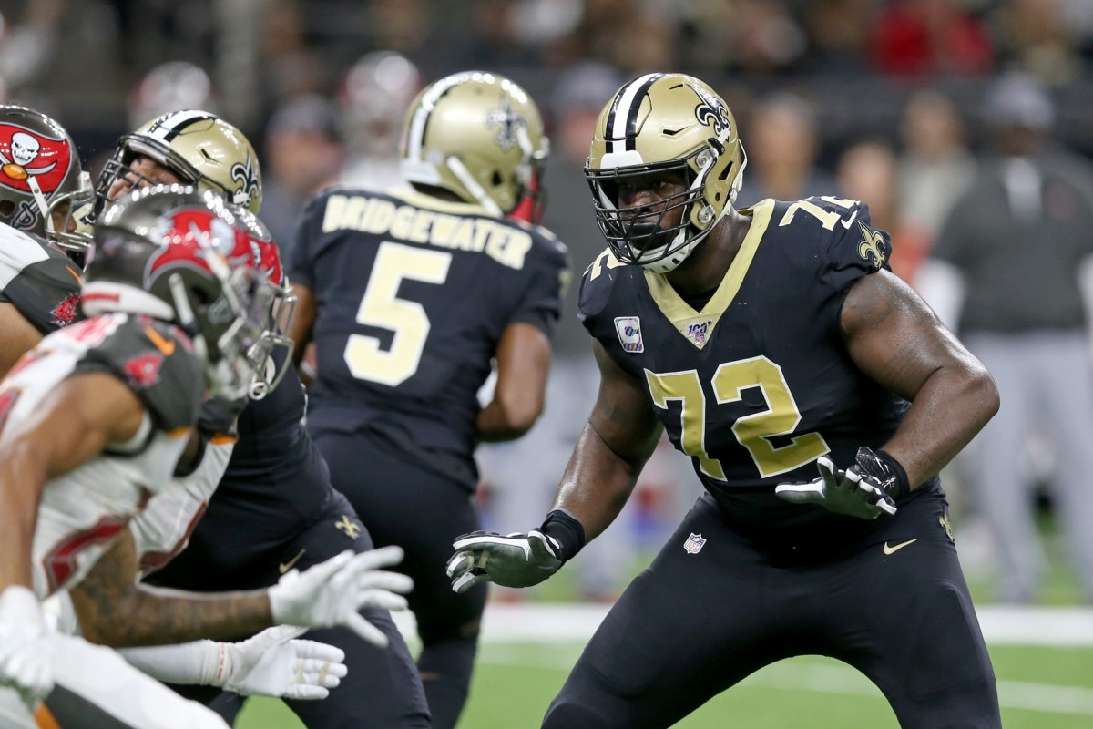 New Orleans Saints offensive tackle Terron Armstead (72) blocks against the Tampa Bay Buccaneers. Mandatory Credit: Chuck Cook-USA TODAY