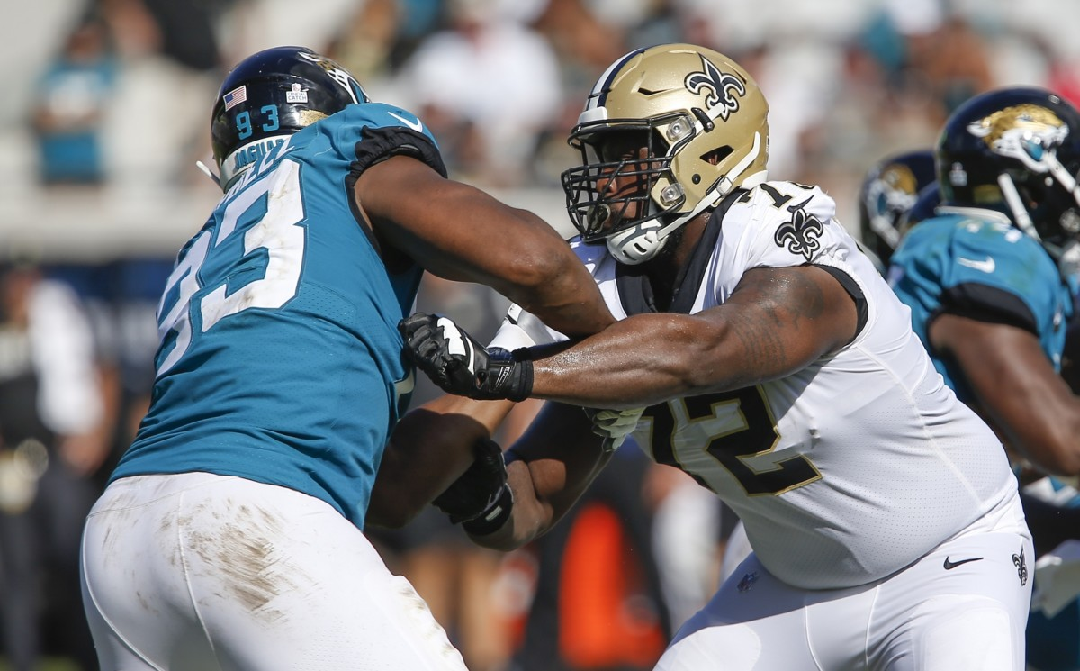 New Orleans Saints tackle Terron Armstead (72) blocks against Jaguars defensive end Calais Campbell (93). Mandatory Credit: Reinhold Matay-USA TODAY Sports