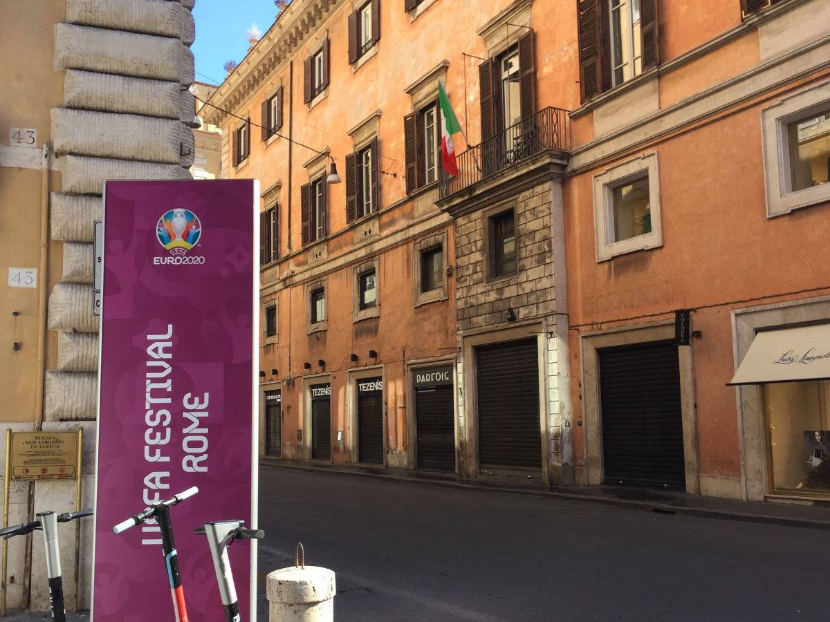 An empty Rome street during Euro 2020.
