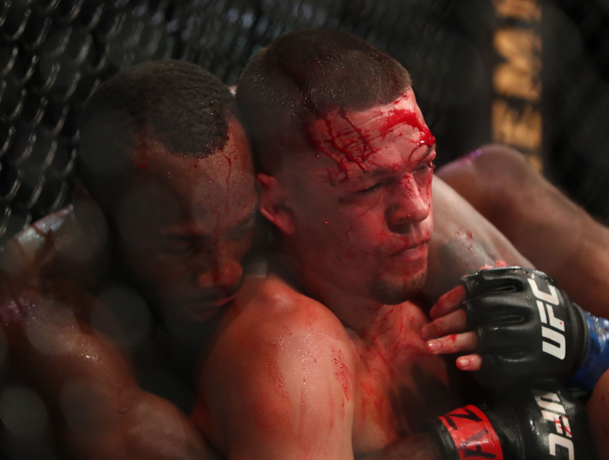Leon Edwards applies a hold against Nate Diaz during UFC 263 at Gila River Arena.