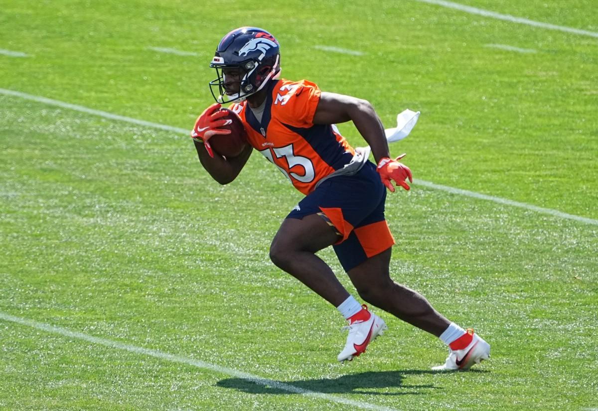 Denver Broncos running back Javonte Williams (33) during organized team activities at the UCHealth Training Center.