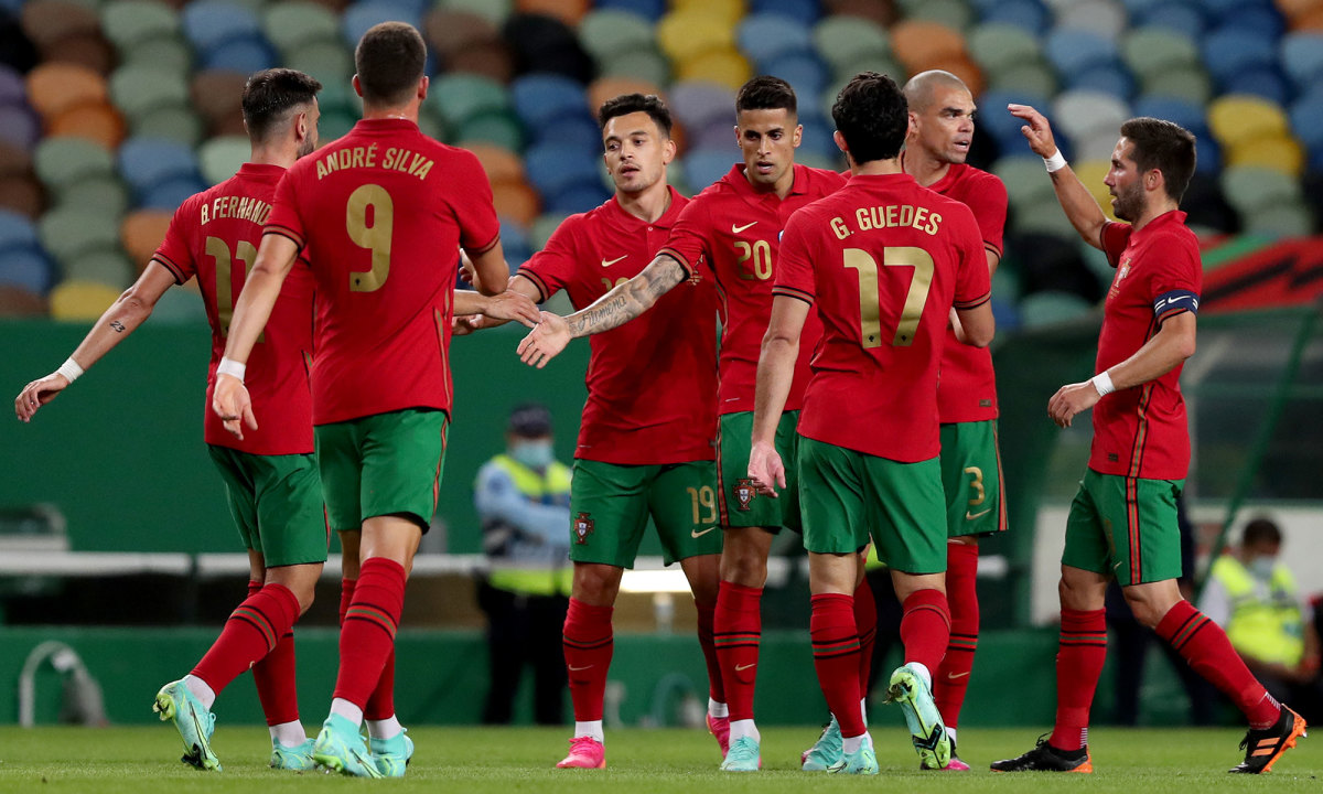 Portugal players celebrate a goal in a friendly before Euro 2020