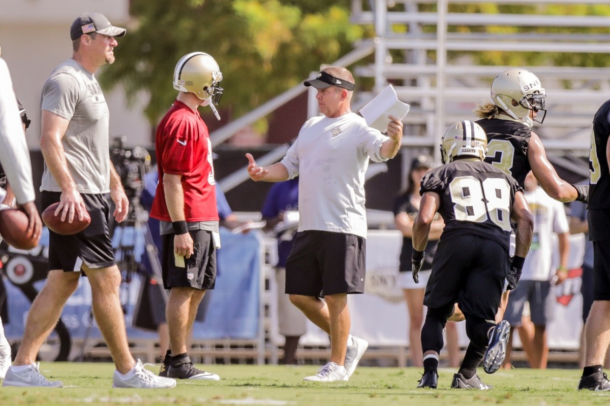Saints head coach Sean Payton during training camp at New Orleans Saints Training Facility. Mandatory Credit: Stephen Lew-USA TODAY Sports