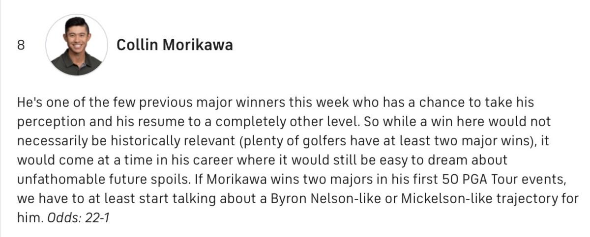 CBS on Morikawa