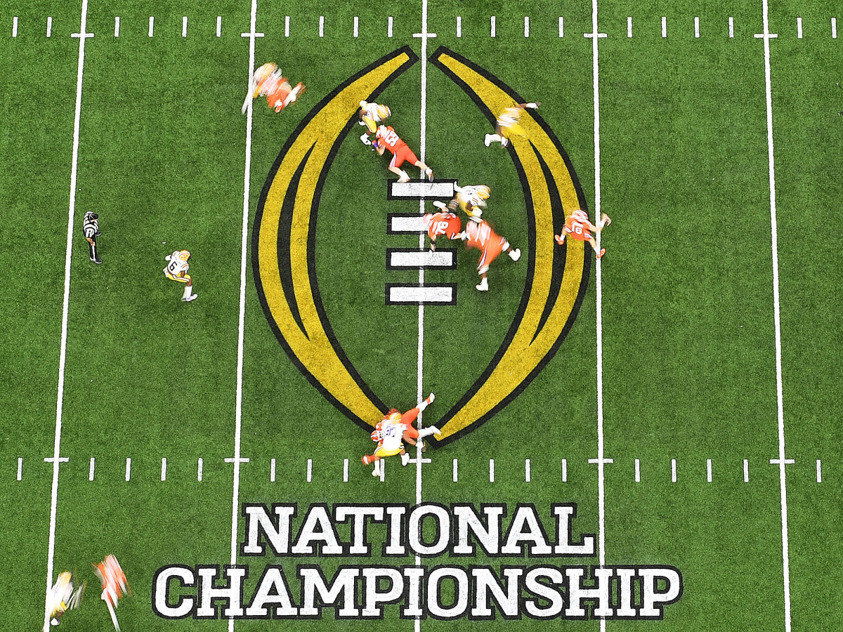 National championship logo on the field