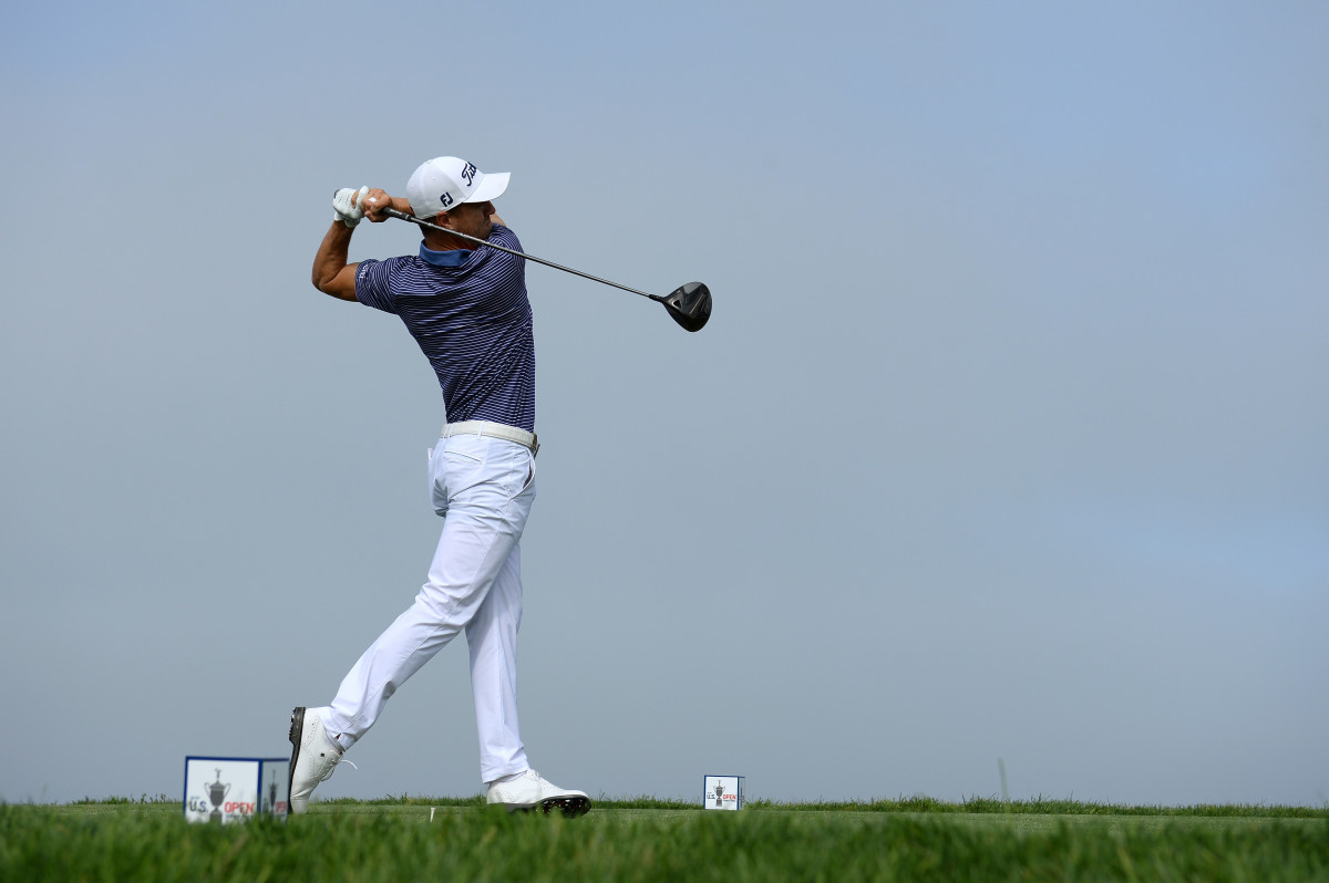 Justin Thomas plays his shot from the 4th tee during a U.S. Open practice round at Torrey Pines' South Course.