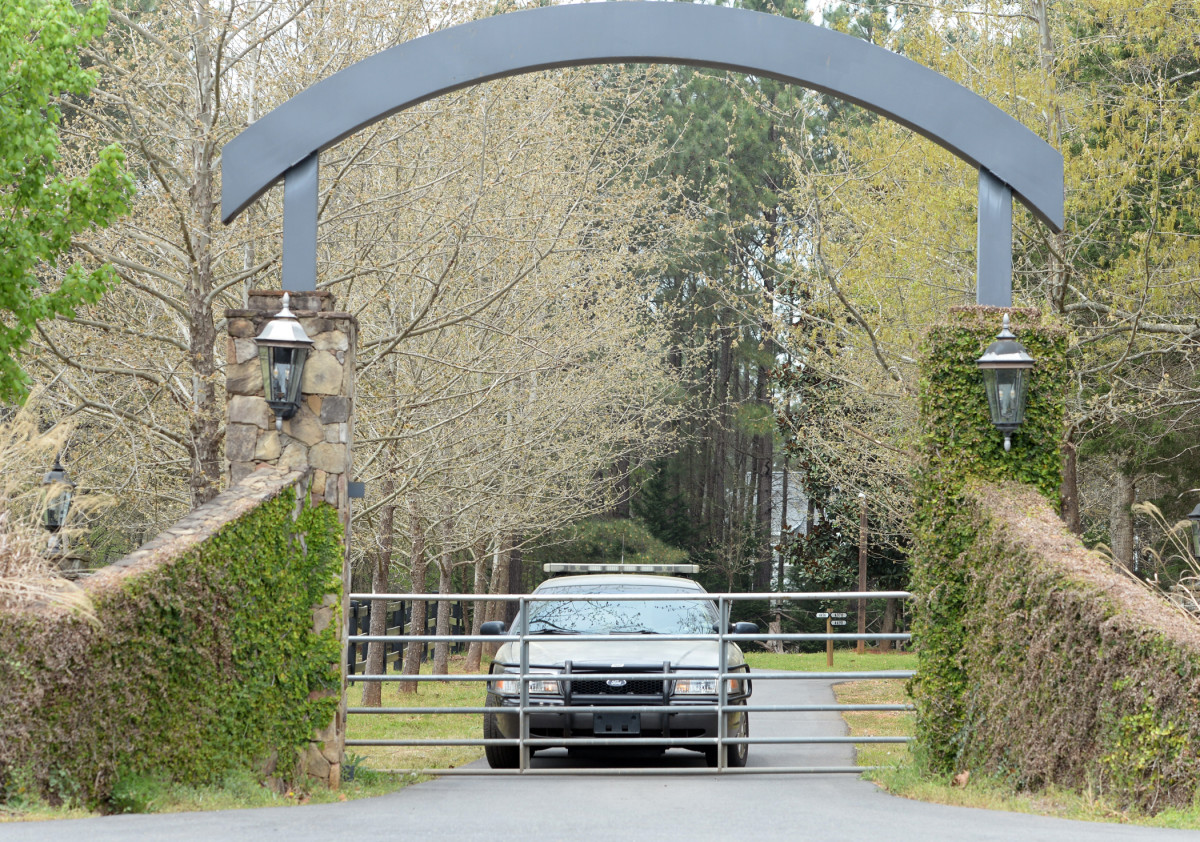 Outside the Lesslies' Rock Hill estate on April 8, one day after the shooting.