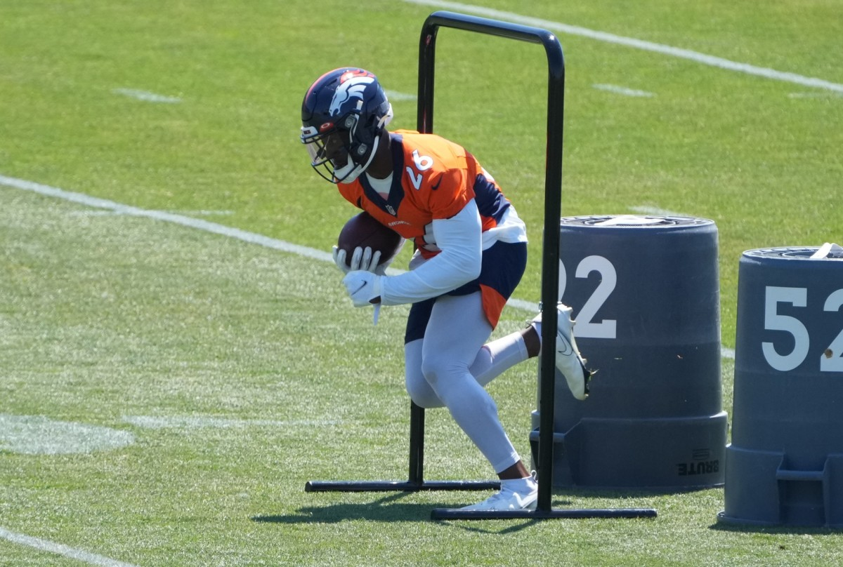 Denver Broncos running back Mike Boone (26) during an offseason workout at the UCHealth Training Center.